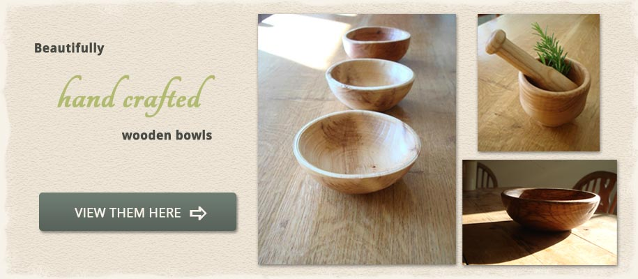 Hand turned wooden bowls at Natural Simplicity