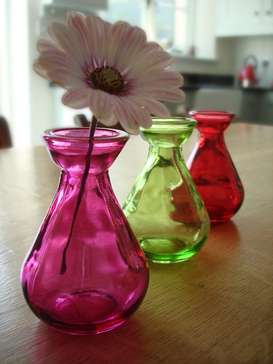 Coloured Recycled Glass Bud Vases (set of 3) #1 - Natural ...
