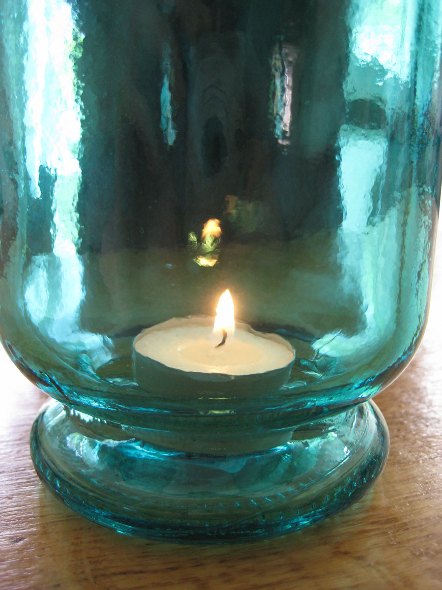 Recycled Coloured Glass Hurricane Lamp Blue Natural