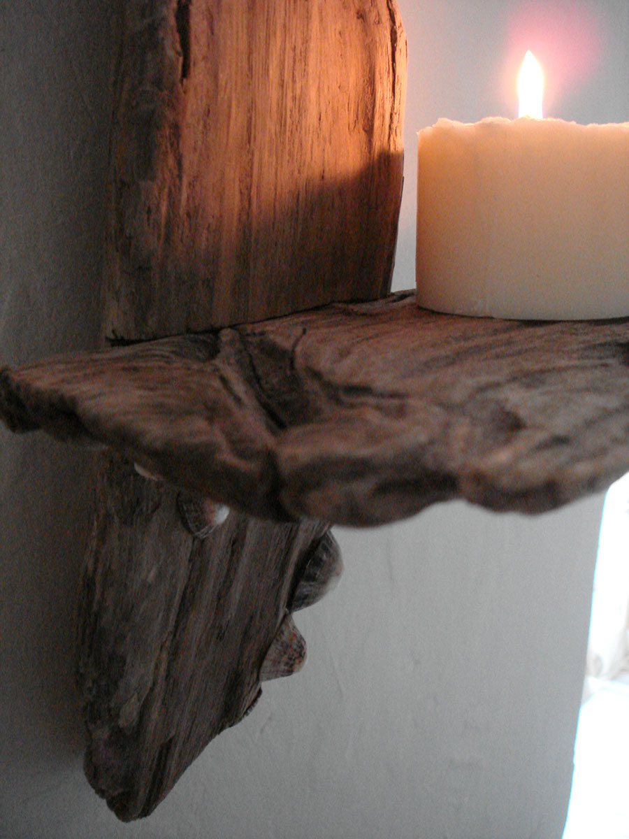 Driftwood Candle Wall Sconces : Driftwood and Shell Wall Candle Sconce - Natural Simplicity