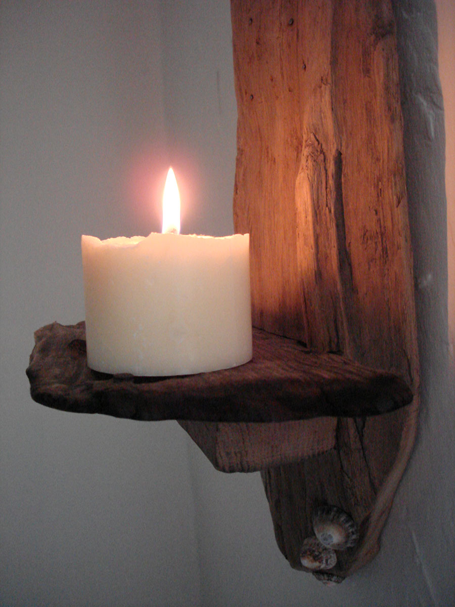 driftwood and shell wall candle sconce natural simplicity