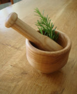Hand turned Wooden Pestle and Mortar