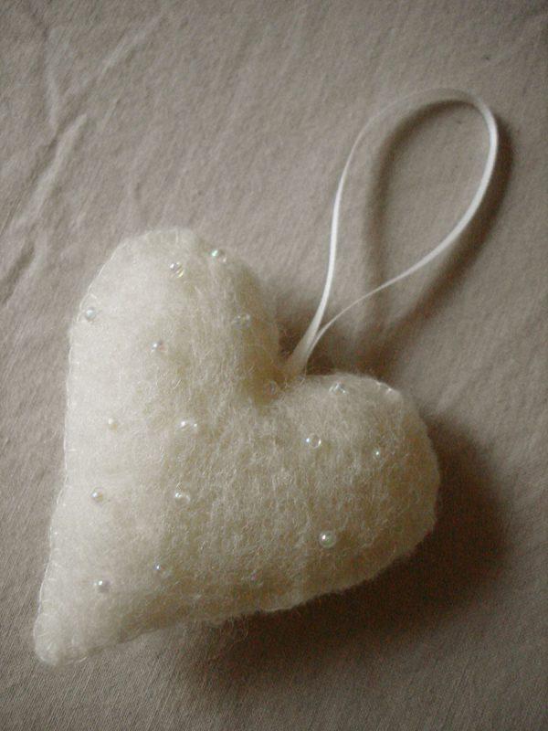Organic Felt Heart Decoration